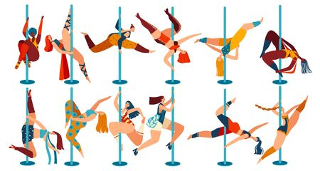 Pole dance people, body positive women cartoon characters isolated on white, vector illustration. Cheerful girls in different poses dancing on pole. Female dancers, flexibility exercise gymnastics set 向量圖像