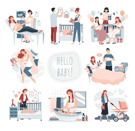 Pregnancy and childbirth, happy family with newborn baby, set of cute cartoon characters vector illustration. Smiling people expecting child, pregnancy, baby shower. Pregnant woman care, loving family Ilustração