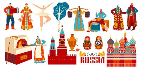 Russian traditions, culture and history, isolated cartoon characters in national costumes, vector illustration. Main symbols of Russia, historical landmarks, slavic people in traditional clothes