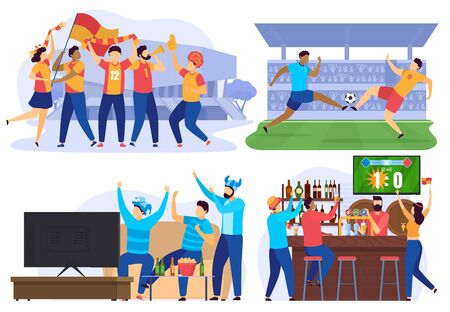 Soccer players and football fans cheering in bar, people cartoon characters, vector illustration. Sport game competition on stadium, friends watching football on tv together. Soccer match championship Ilustração