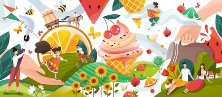 Summer memories, happy people cartoon characters in fantasy world with fruits and ice cream, vector illustration. Summertime land of sweets and flowers, man and woman enjoy summer vacation outdoor