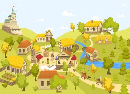 Mittelalterliches Dorf mit Schloss, Fachwerkhäusern und Menschen auf dem Marktplatz, Vektorillustration