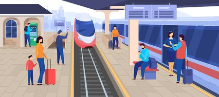 Train arrives at railway station, people waiting on platform, passenger cartoon character, vector illustration