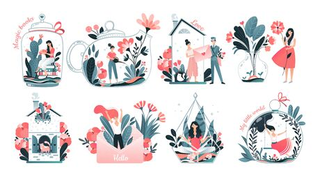 Girls inner world concept, introvert personality comfort, cozy home and imagination set, vector illustration. Tiny woman cartoon character in glass jar teapot surrounded by flowers. Inner world symbol