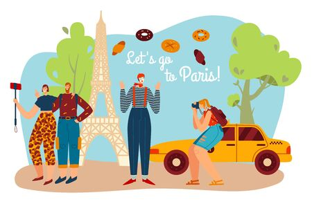Tourism travel to Paris, frenchman mime with Eifel towel and tourists take photo of France culture symbols and architecture landscape cartoon vector illustration.