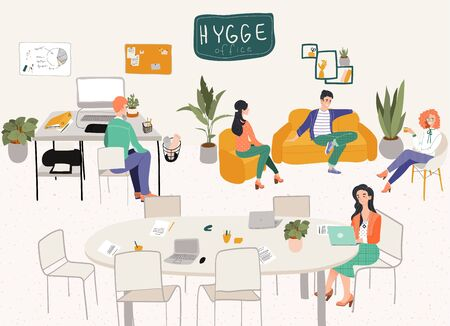 Freelancers office hygge interior workplace or home office with stylish comfy furniture and people designers with laptops flat vector illustration. Scandinavian freelance interior in hygge style. Illustration
