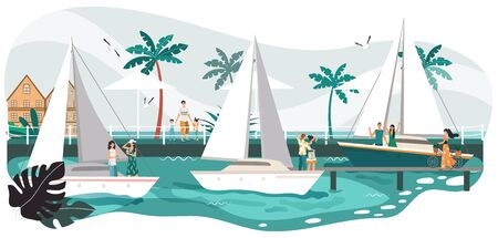 Seaside promenade summer landscape, people on yacht in sea, tropical resort and palm trees on beach cartoon vector illustration. Seafront promenade vacation romantic boats with couples. Vettoriali