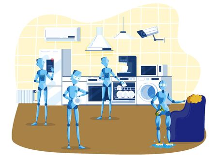 Kitchen robots for home household, robots cooking, cleaning, multitasking engineered for people assistance and convenience cartoon vector illustration. Robotic domestic intelligence help and care. Ilustração