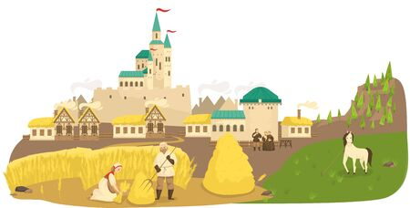 Medieval life peasants working in field, horse, castle and old european buildings landscape cartoon vector illustration. Historic life of medieval people, poor villagers and farmers labor.
