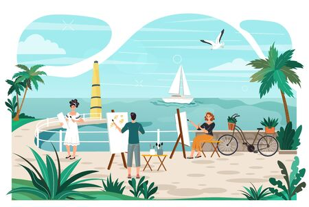 Art class at seaside promenade summer rest and vacation, artists people with easel draw yacht in sea, tropical resort and palm trees cartoon vector illustration. Seafront art lessons of drawing.