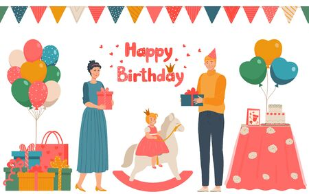 Happy birthday, character male, female give present little princess on toy horse, lovely family celebrate date birth, flat vector illustration. Stock Illustratie