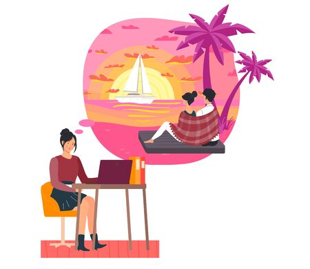Girl work hard but dreams date on beach, attractive couple, female and male sit beach, ocean shore, isolated on white, flat vector illustration. Sailing boat on sea horizon, lovely sunset. Vettoriali