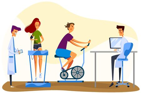 Character doctor and patient, male physician, female perform medical exercises, woman stationary bike, treadmill, isolated on white, flat vector illustration. Design for web banner, website. Illusztráció