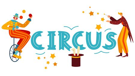 Character juggler, clown on bicycle, wizard, rabbit out hat, isolated on white, flat vector illustration. Design banner for website, ticket. Entertainment circus show, promotional invitation card.