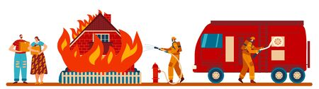 Firefighters extinguish house flame, fire truck, water hydrant, character couple, male, female, family left without home flat vector illustration. Moving people after incident, fire victim.
