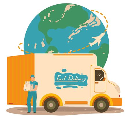 Parcel delivery, postal service, character male postman, delivery truck, isolated on white, flat vector illustration. Planet Earth background, world fast, express delivery by airplane, flight, car.