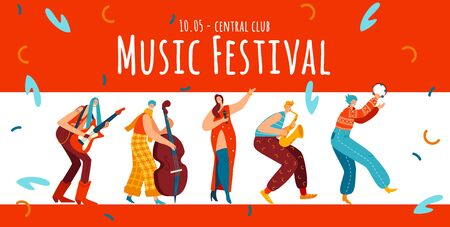 Music festival, hippie people character, flat vector illustration. Boho style, male, female with guitar, viola, trumpet.