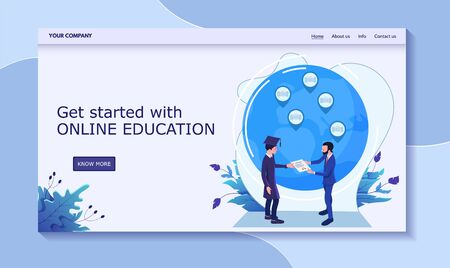 Get started online education, male receive diploma from rector, vector illustration. Contact us, info, about us, home, more button. Stock Illustratie