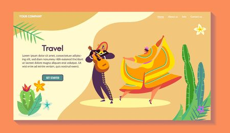 South america vacation web banner, character male with guitar, female, traditional dance, flat vector illustration. Design for website.