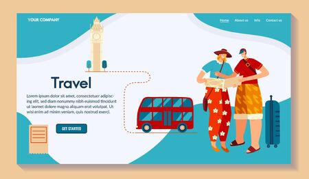 Character male travel around world, flat vector illustration. Creating route, map for trip. Design for website, your company name place.