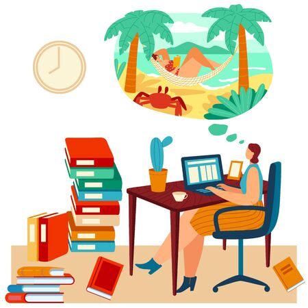 Woman work laptop but dreams about beach, tropical travel, female lying hammock, ocean shore, isolated on white, flat vector illustration.