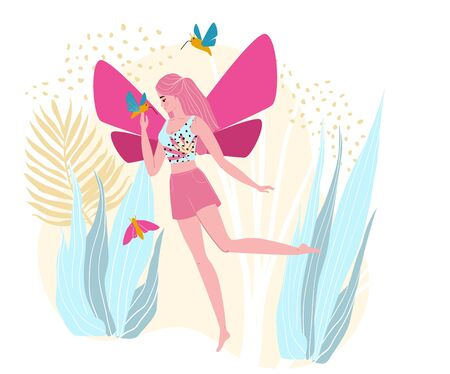 Character woman fairy, flight in outdoor park, fantasy area, isolated on white, flat vector illustration. Lovely magical female with wings, hummingbird, butterfly, design for imagination place.