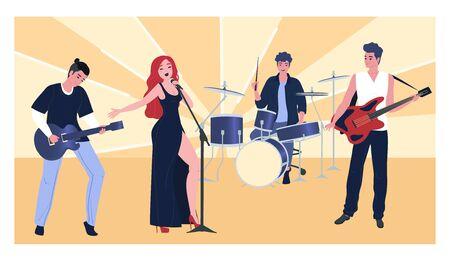 Musical performance, group character male female, flat vector illustration. Woman singer, guitarist, bassist, drummer. Advertisement flyer, play music concert, sunburst background.