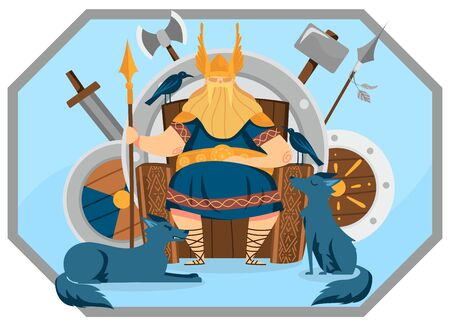 Viking kind with helmet wings character male, ruler sitting throne, sword, shield, axe, spear, flat vector illustration. Scandinavian war monarch, watchdog, raven. Wise leader, warlord sit on altar.