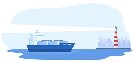 Large ship moor in city, lighthouse, urban background, industry concept banner, flat vector illustration, isolated on white. Industrial place, ship carrying oil, petrol, gas, industry production.  イラスト・ベクター素材