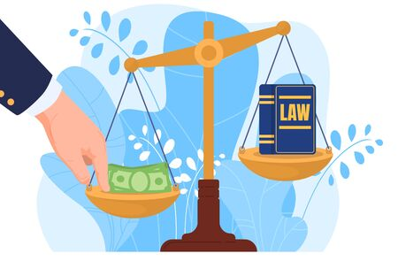 Corruption, hand put money on scale, bribery, law, isolated on white, flat vector illustration. Corrupt practices in legal system, jurisprudence, judicial practice, design banner, leaf background. Vettoriali