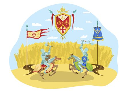 Knightly tournament, character riders horses fighting, royal competition, isolated on white, flat vector illustration. Chivalrous sign, military parade, middle ages war, battle, contest.