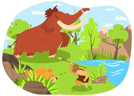 Ancient tribe, hunting mammoth, saber toothed tiger, character male with spear flat vector illustration. Design wildlife nature, old ages, primitive people, prehistoric man, lake, landscape.