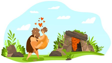 Love ancient couple, primitive relationship, character prehistoric male carried on hand female, heart, leaf, flat vector illustation. Cave for old ages life, wildlife nature, landscape, Vettoriali