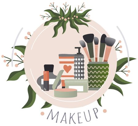 Make up stuff, eye shadow, brush, mascara, healthy makeover, red lipstick, isolated on white, flat vector illustration. Web label, text font, beauty business, industry skin care, cosmetic company. Illustration