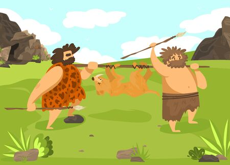 Character male hunting wild animal, prehistoric time, man with spear, flat vector illustration. Ancient tribe on hunt, wildlife nature, hunter in skin predator, design banner for old ages.
