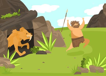 Unsuccessful hunting, character male, saber toothed tiger from cave attack man with spear, flat vector illustration. Ancient tribe on hunt, wildlife nature, design banner for old ages.