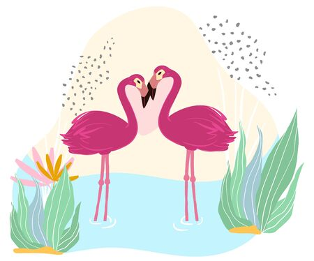 Pink flamingo stand in pond, lake, wildlife, african nature, isolated on white, flat vector illustration. Lovely big bird couple, design for wild banner, animal, tropical poultry, water reservoir.