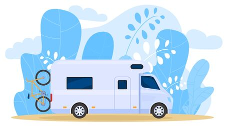 House on wheels, traveling truck, carries bicycle, camper wagon, palm tree leaf background, vector illustration. Free vacation, travel around country by car, design banner, trip exploring world. Vektorgrafik