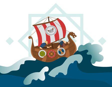 Viking character male on ship, boat, old shield, stormy sea, ocean, flat vector illustration. Journey of viking, conquering earth, exploring new land, scandinavian marine, navigator, seafarer.
