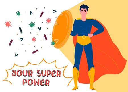 Superhero man with shield, red cloak, protect from virus, coronavirus, bacteria, concept flat vector illustration. Your super power.