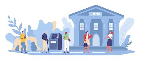 Social distancing at bank, vector illustration. Financial service at coronavirus quarantine. People, man and woman character