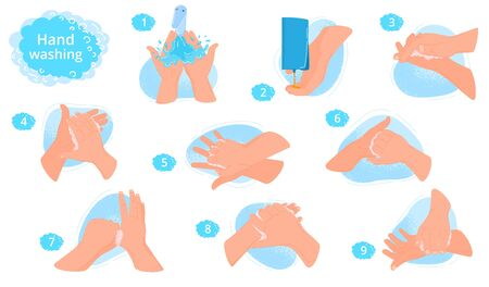 Washing hands instruction vector illustration. Right way to avoid virus and germ. Use clean water and soap, foam for disinfection