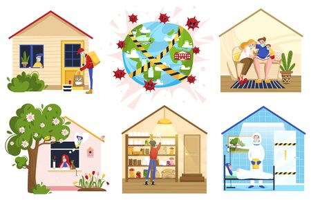 Stay at home people self-isolation quarantine work at home vector illustration. Social distance. People do cleaning, their favorite hobby, spend time with family. Masked people covid virus protected