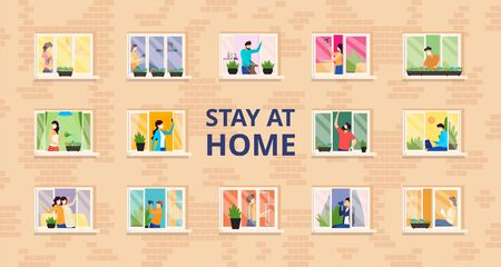 Stay at home, full people house vector illustration. Self isolation, social distance at residential building with open windows.