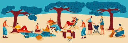 People cook barbeque meat at nature, family cooking bbq party, park landscape cartoon vector illustration. Friends barbecue and grill meat and sausages food picnic, play music outside on summer.