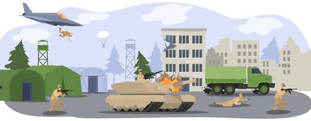 People in military camp base, soldiers in camouflage uniform at war with gun, militarian tank and airplane cartoon vector illustration. Ilustração