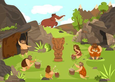 Primitive people prehistoric cartoon vector illustration before cave and totem animal, ancient cavemen in stone age with mammoth, weapon, tools. Primitive people serving gods, hunting.
