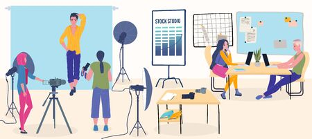 Photo studio professional photographers with camera taking pictures of model with photographic equipment vector Illustration. Photo session and designers at laptops working with pictures.
