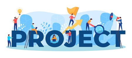 Project team work vector illustration of business people working together as team on huge letters. Manager, designer, programmer and colleagues teamwork. Teammates women and men group. Illustration