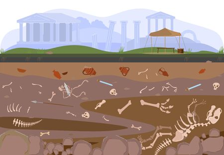 Archaeology, paleontology excavation or digging soil layers by archaelogists with artifacts, treasures and bones underground cartoon vector illustration. Dinosaurs skeletons archaelogical search. Vecteurs